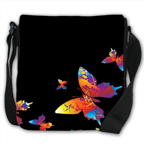 Rainbow Splash colour Butterflies Small Black Canvas Shoulder Bag / Handbag