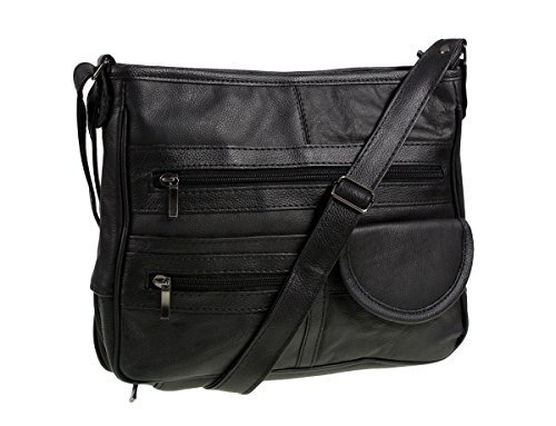GENUINE LEATHER HANDBAG WITH ORGANISER  (REF3771) (BLACK)