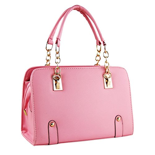Fashion Ladies Chain Handbag Square Candy Color Vintage Leather Totes Peach pink