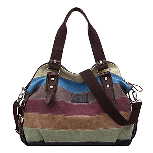 Coofit® Multi-Color Striped Canvas Totes Handbag Women's Hobos and Shoulder Bags