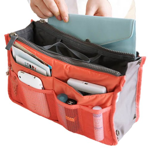 Hee Grand Women's Handbag Organiser Liner Tidy Travel Cosmetic Pocket Insert 12 Pockets Large Orange