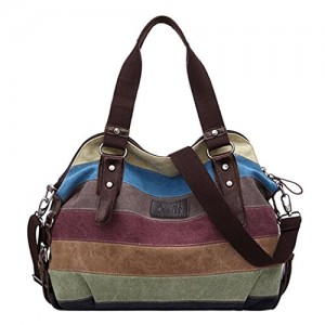 Coofit-Multi-Color-Striped-Canvas-Totes-Handbag-Womens-Hobos-and-Shoulder-Bags-0