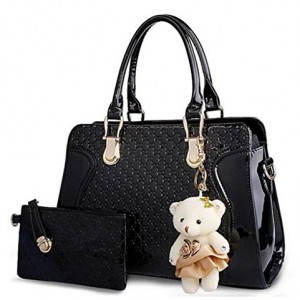 Kingcore-Patent-Leather-Handbag-Messenger-Bag-for-Ladies-Small-Bag-Bear-Key-Chain-postcard-0