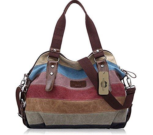 2586849cde2 KISS GOLD(TM) Women's Canvas Multi-Color Shopper Tote Shoulder Bag