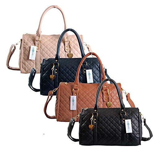 Women Ladies Designer Quilted Tote Bag Leather Style Quality Shoulder Handbag