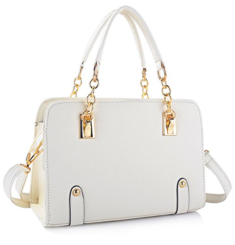08a8ff0a9b7 Coofit New Fashion Women s PU Leather Padlock Tote Handbag Ladies Shoulder  Bag (White)