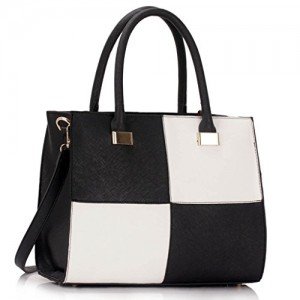 Womens-Check-Print-Designer-Faux-Leather-Celebrity-Style-Tote-Handbag-0